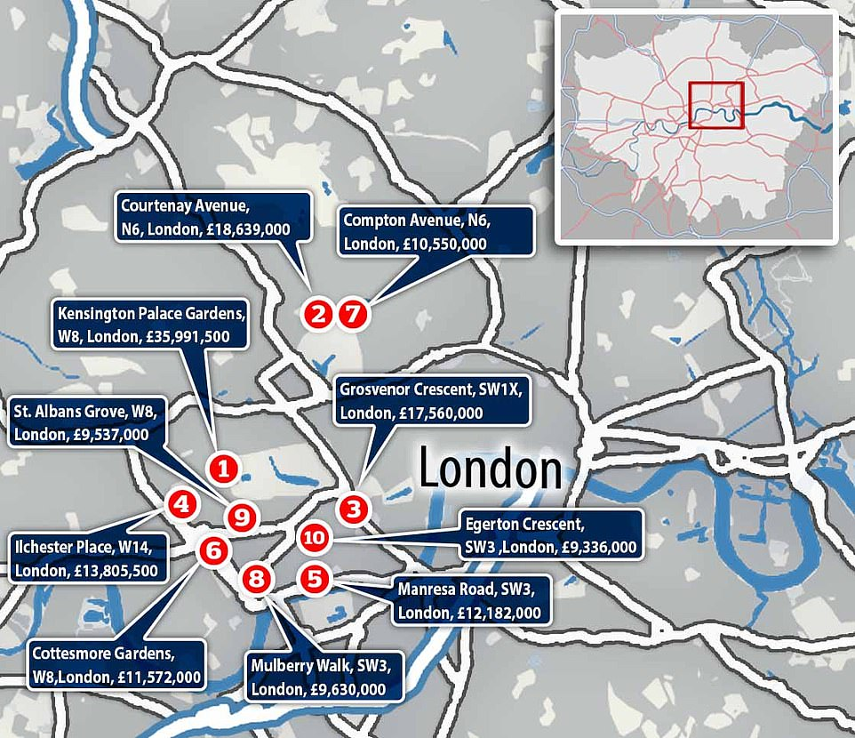 Where are the most expensive streets in Britain located? 5