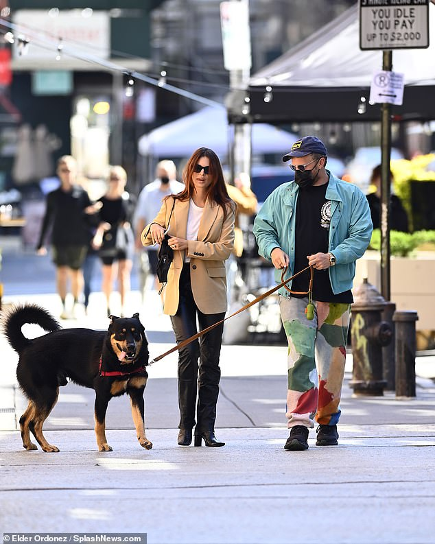 Emily Ratajkowski opts for business casual while walking the dog with her husband in New York 4