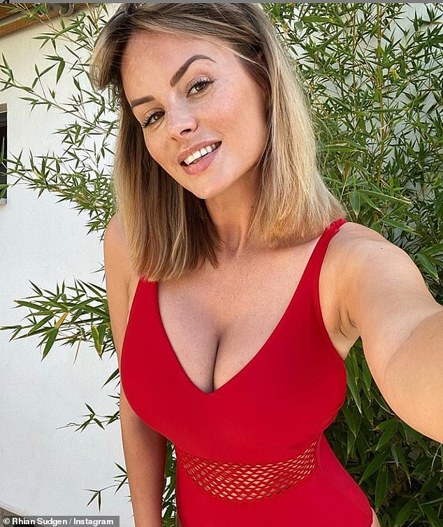 Rhian Sugden looks sensational as she puts on a busty display in red swimsuit during Turkey getaway 5