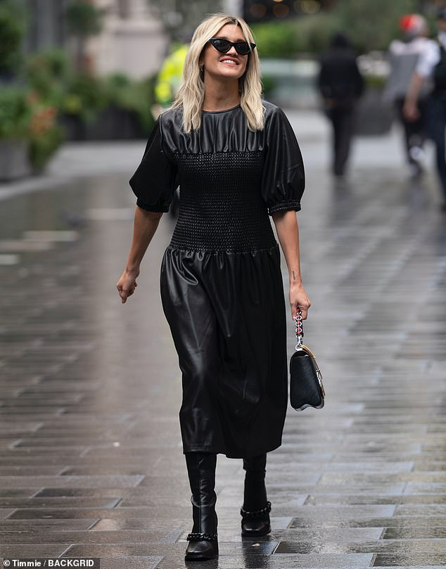Ashley Roberts nails Gothic chic in a faux leather dress as she makes a stylish exit from Heart FM 4