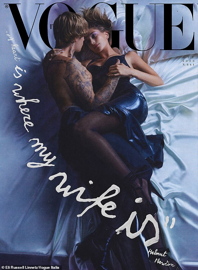 Justin and Hailey Bieber writhe on a bed and kiss passionately in sensual cover for Vogue Italia 6