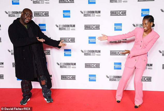 Letitia Wright joins Steve McQueen at socially-distanced photocall for Mangrove 1