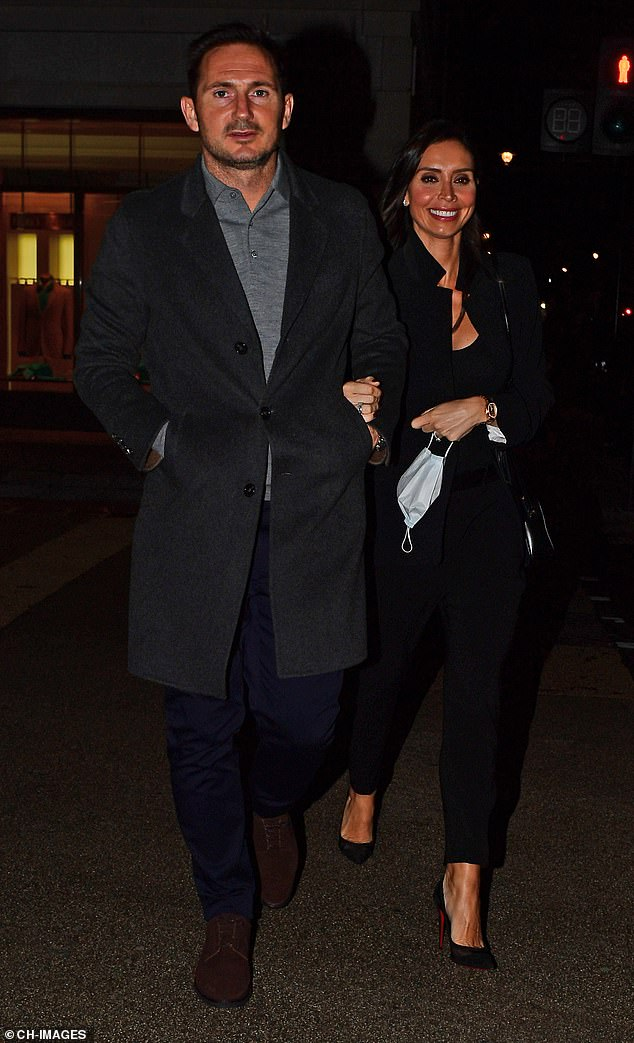 Christine Lampard is chic in a black suit as she enjoys a dinner date with Frank in London 1