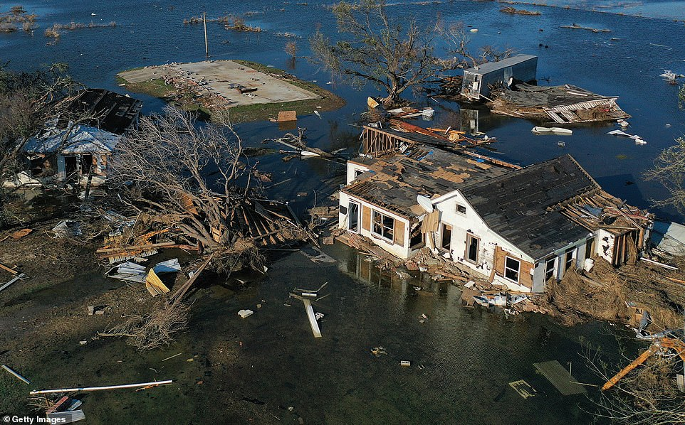 Aerial photos and drone footage shows homes destroyed by Hurricane Laura now flooded by Delta 8