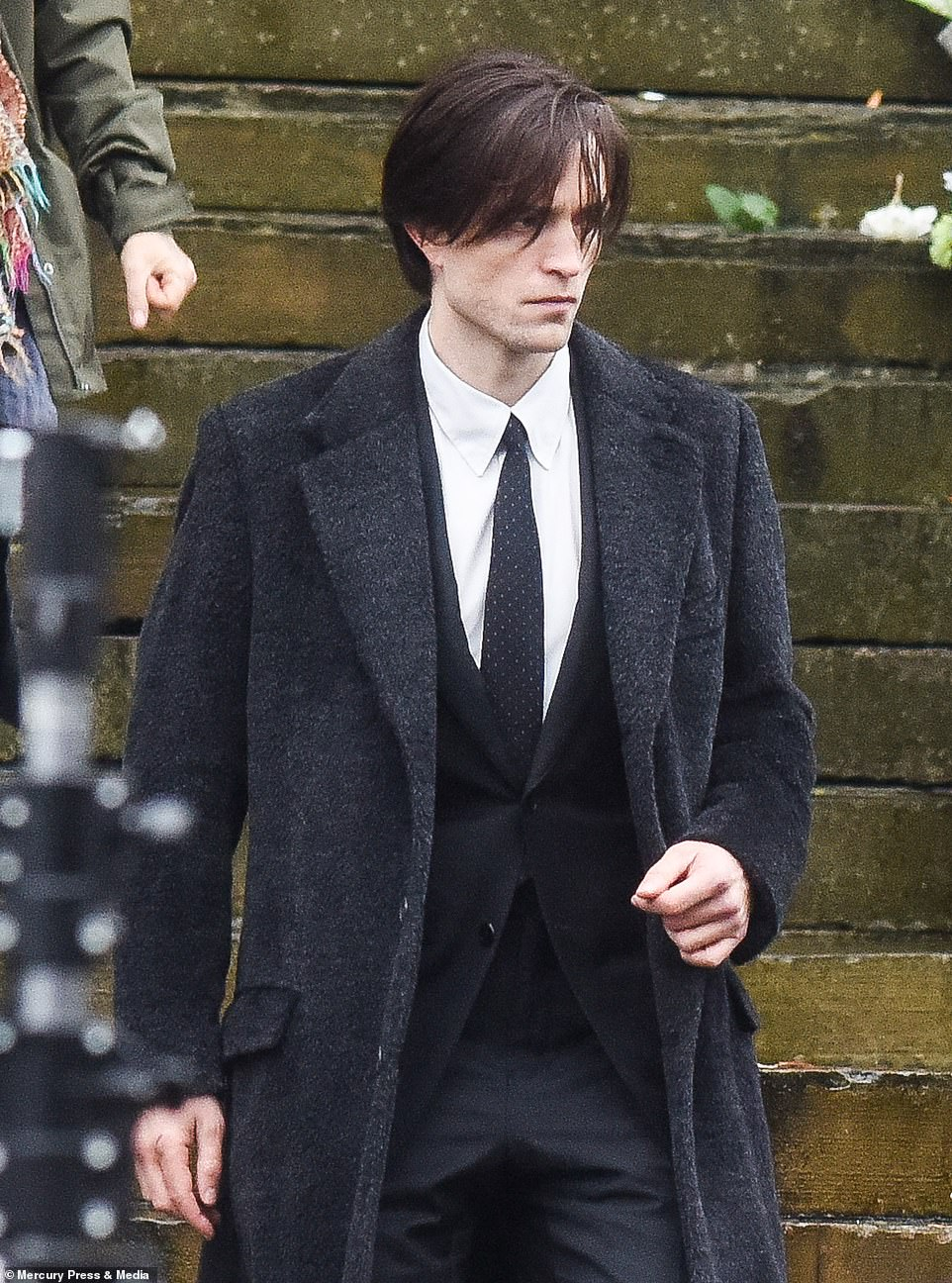 The Batman: Robert Pattinson is seen on set for FIRST time as he shoots funeral scene in Liverpool 4