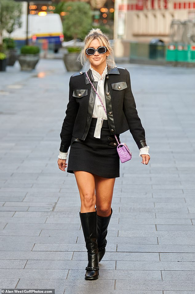Ashley Roberts is chic in a black cropped jacket and matching mini skirt as she leaves Heart FM 3