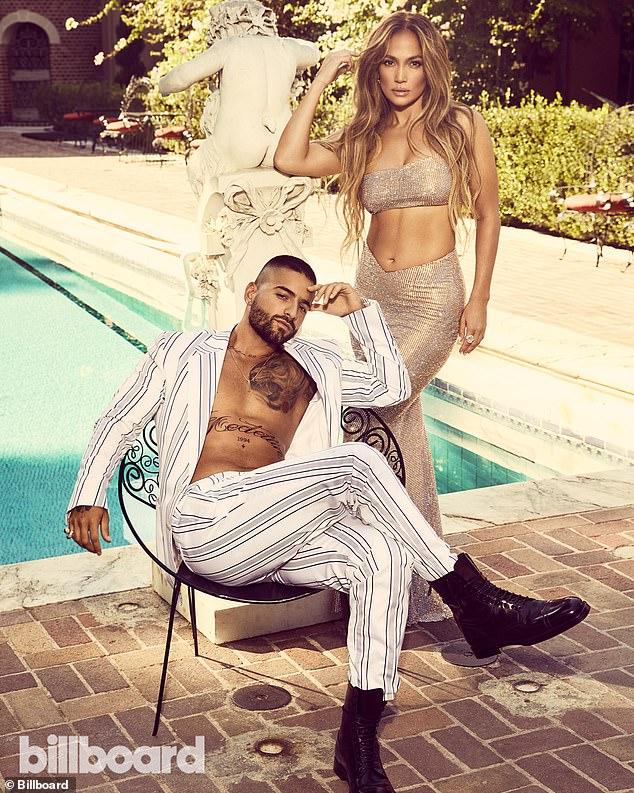 Jennifer Lopez, 51, poses with her Marry Me co-star Maluma, 26 4