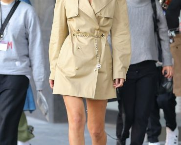 Bella Hadid shows off her toned model legs in a blazer dress after returning to NYC 4