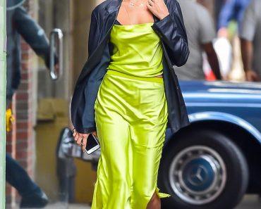 Irina Shayk owns the sidewalk in a striking lime green ensemble as she makes her way through SoHo 6