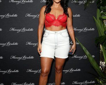 Bachelor star Sogand Mohtat looks sensational in a red lace lingerie at Honey Birdette 6