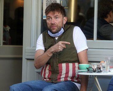 Blur frontman Damon Albarn appears tired and startled on coffee break 7