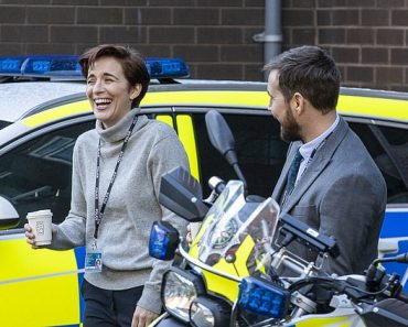 Line of Duty's Vicky McClure, Adrian Dunbar and Martin Compston share a joke between takes 3