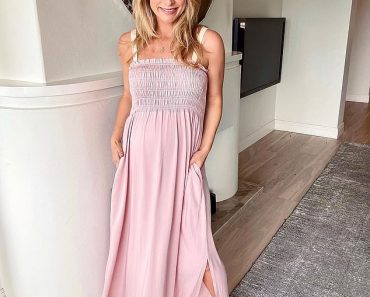 Radiant Anna Heinrich shows off her baby bump in a maxi-dress 2
