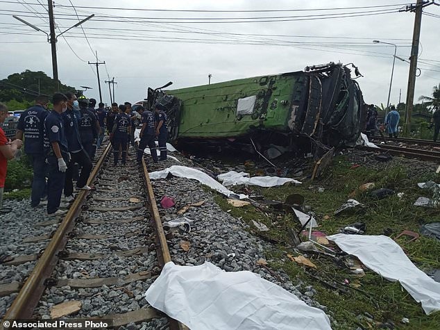 Bus-train collision in central Thailand leaves 17 dead 2
